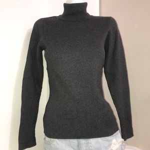 Traditional Country Dark Grey Ribbed Turtleneck